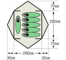 使用人数・床面積 M-3118 オルディナスクリーンドームテント(6人用)(キャリーバッグ付)