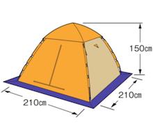 フレームサイズ M-3131 ワカサギ釣りワンタッチテント210(コンパクト)オレンジ