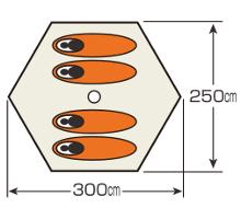 使用人数・床面積 UA-16 アルミワンポールテント300UV