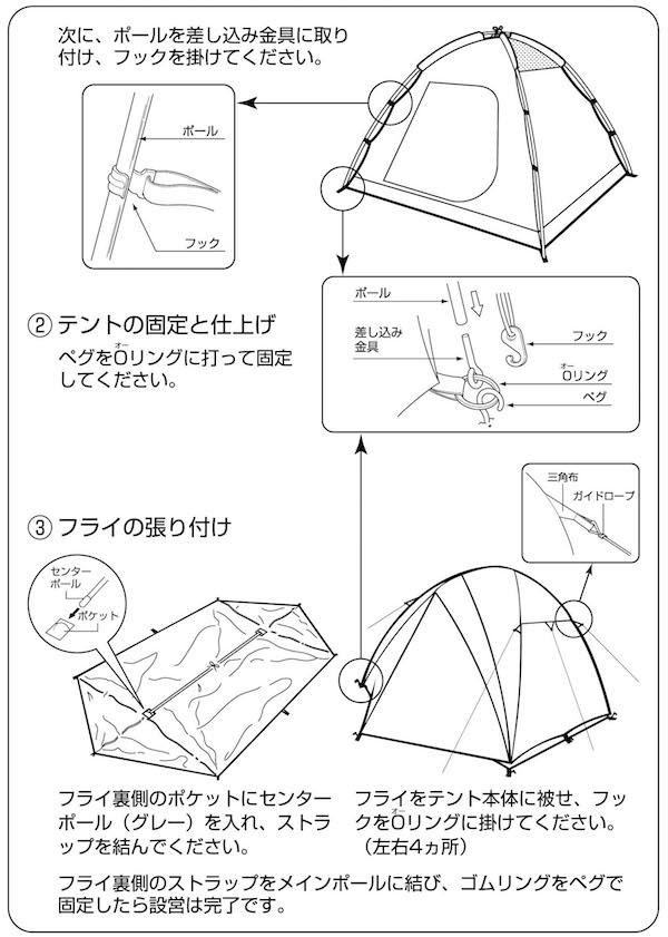 テント組立順序2 テントの固定と仕上げ〜フライの張り付け