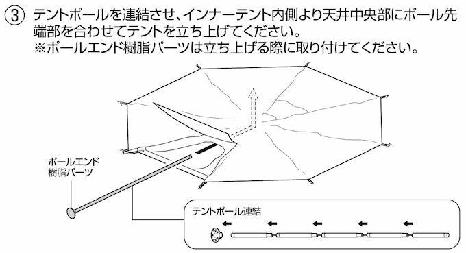 キャプテンスタッグ UA-35 CSクラシック ワンポールテント オクタゴン460UV 張り方3(組み立て方3)