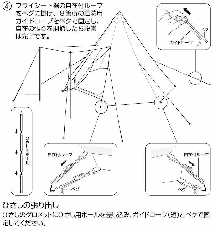 キャプテンスタッグ UA-35 CSクラシック ワンポールテント オクタゴン460UV 張り方4(組み立て方4)