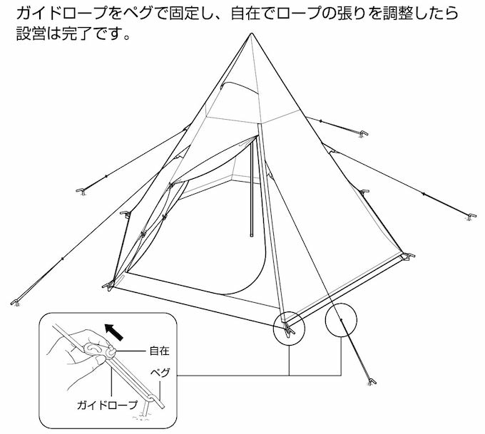 キャプテンスタッグ UA-34 CSクラシック ワンポールテント ヘキサゴン300UV 張り方4(組み立て方4)