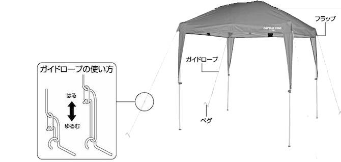 キャプテンスタッグ UA-1054 スーパーライトタープ180UV-S(ブルー)設営方法3