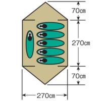 使用人数・床面積 M-3106 レニアスドームテント(5~6人用)(キャリーバッグ付)