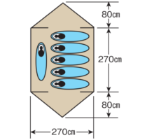 使用人数・床面積 M-3132 CS ドームテント270UV(5~6人用)(キャリーバッグ付)