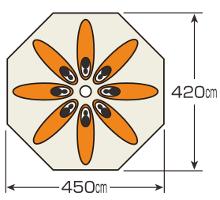 使用人数・床面積 UA-35 CSクラシックス ワンポールテント オクタゴン460UV