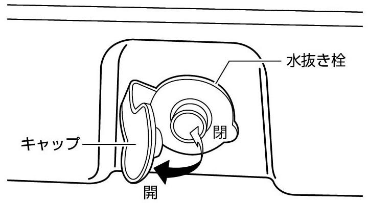 使用方法 2.水抜き栓 UE-76 ステンレスフォームクーラー51LとUE-75 CSブラックラベル スチールフォームクーラー51L