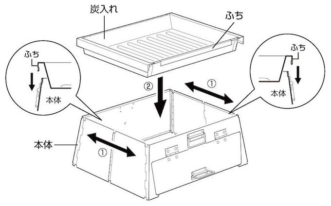 キャプテンスタッグ UG-2902 たためるピザ窯 組立方法
