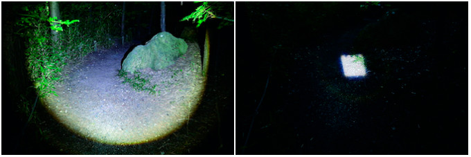 LEDヘッドライトの広角照射とスポット照射