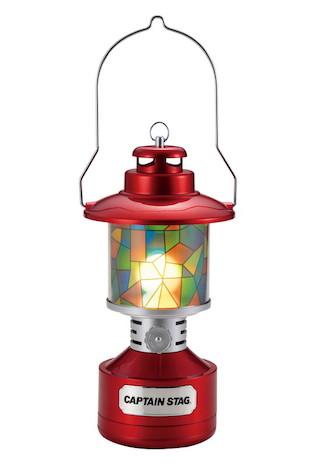 ツインライト LEDランタン レッド(ステンドグラス風シート付)
