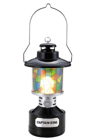 ツインライト LEDランタン ブラック(ステンドグラス風シート付)