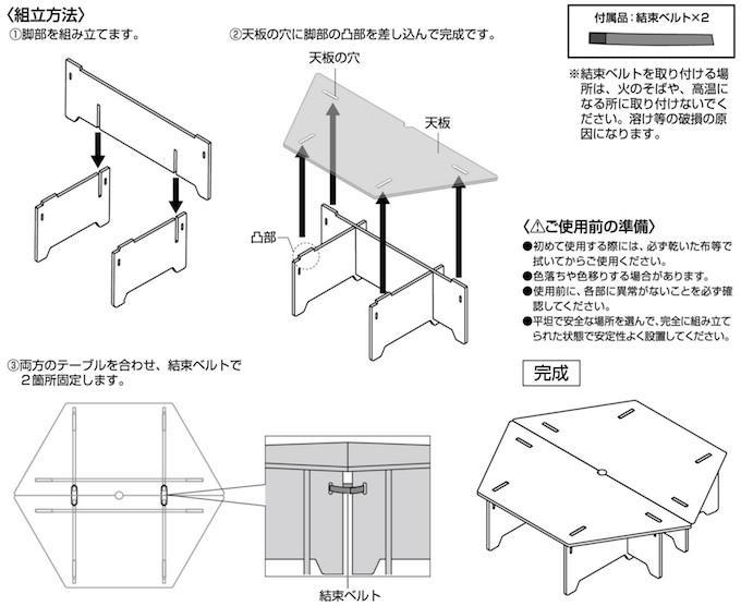 UP-1040 CSクラシックス ヘキサセンターテーブル(96)組立方法