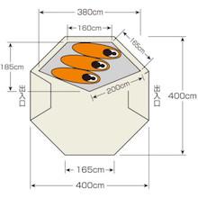 使用人数・床面積 UA-46 CSクラシックス ワンポールテント DXオクタゴン400UV