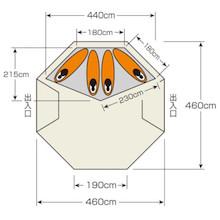 寝室用インナーテント UA-47 CSクラシックス ワンポールテント DXオクタゴン460UV