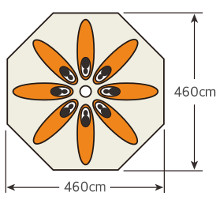 使用人数・床面積 UA-47 CSクラシックス ワンポールテント DXオクタゴン460UV