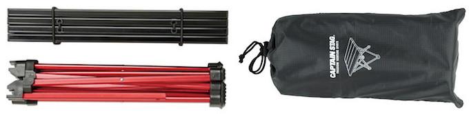 UC-530 トレッカーアルミロールテーブル ミニ ブラック コンパクト収納&収納バッグ