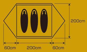 使用人数・床面積 UA-54 キャンプアウト アルミドームテント3UV(オールドイエロー)
