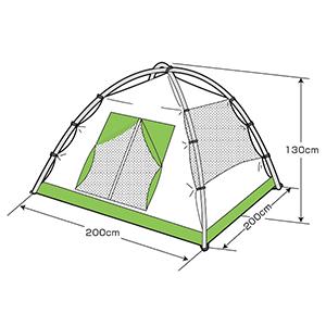 フレームサイズ UA-49 クレセント 3人用ドームテント(グリーン)