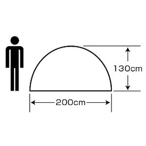 天井高 UA-49 クレセント 3人用ドームテント(グリーン)